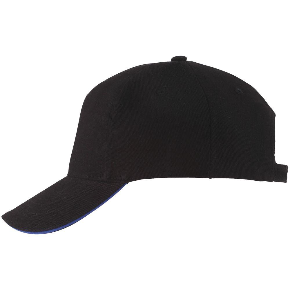Бейсболка LONG BEACH, черная с ярко-синим