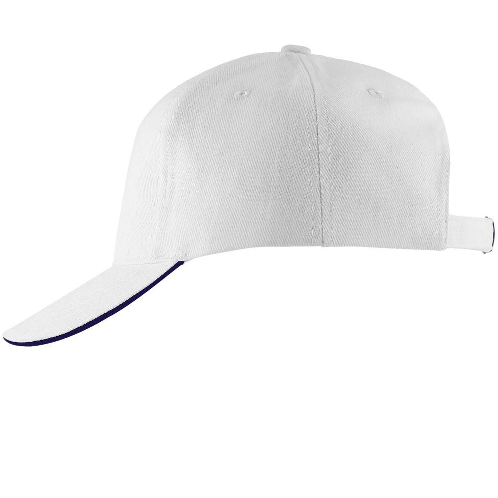 Бейсболка LONG BEACH, белая с темно-синим