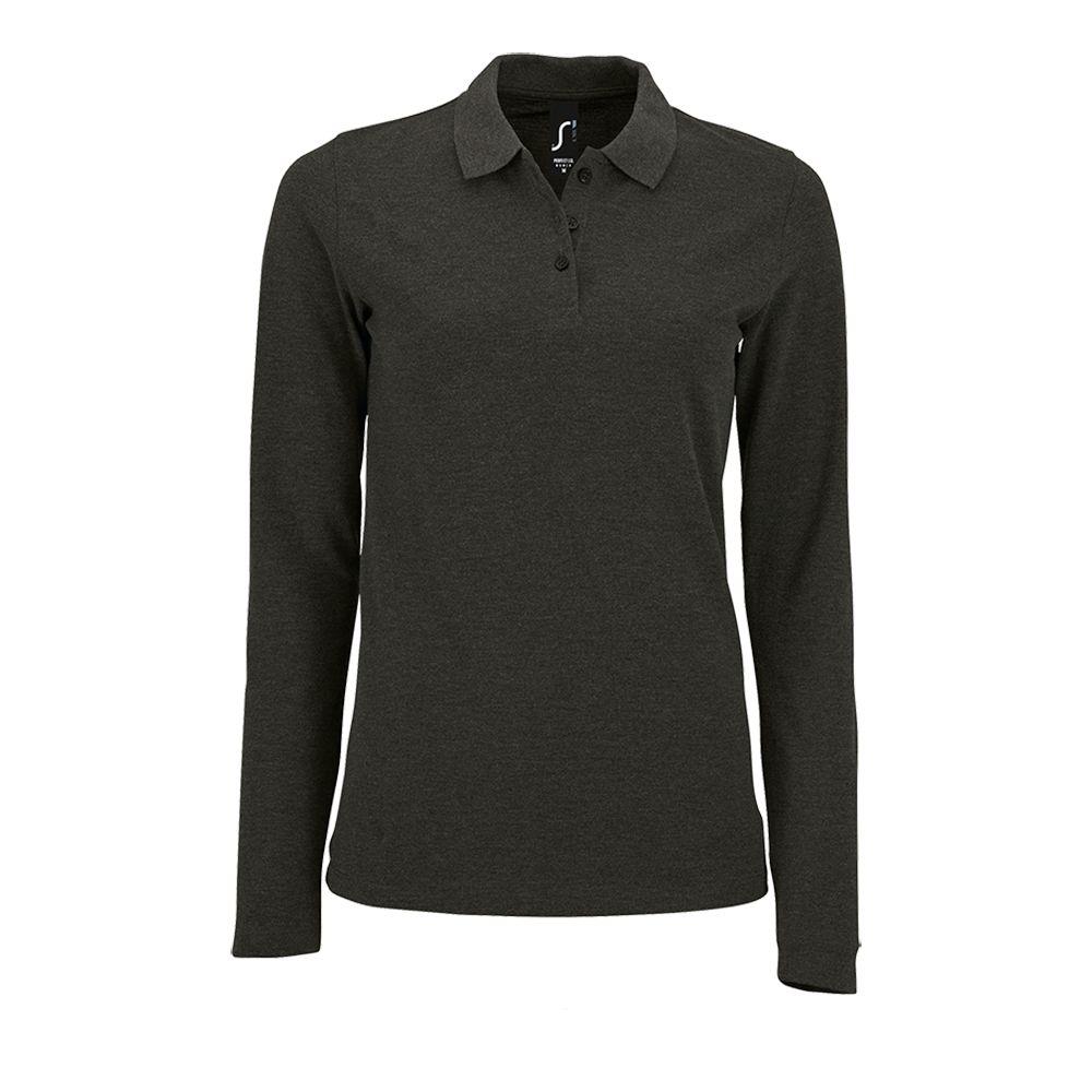 Рубашка поло женская с длинным рукавом PERFECT LSL WOMEN, черный меланж