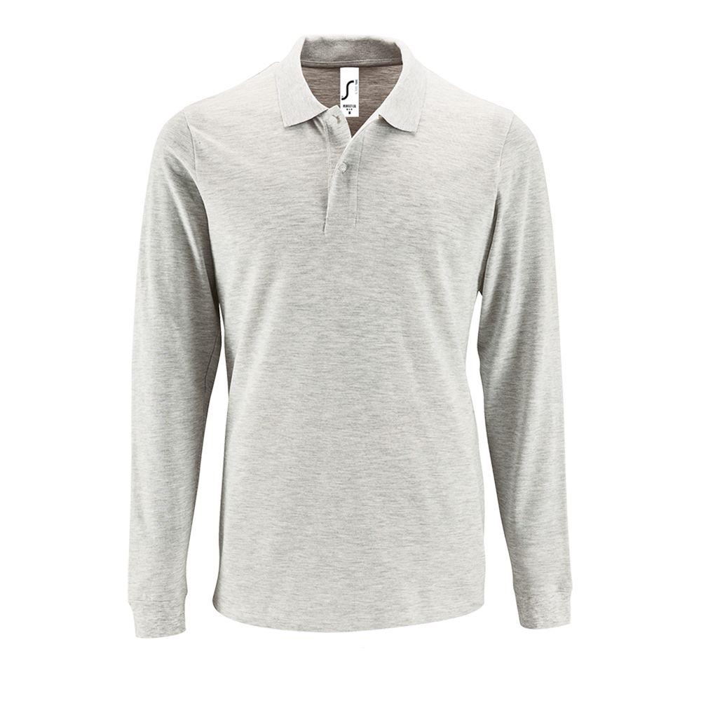 Рубашка поло мужская с длинным рукавом PERFECT LSL MEN, светло-серый меланж