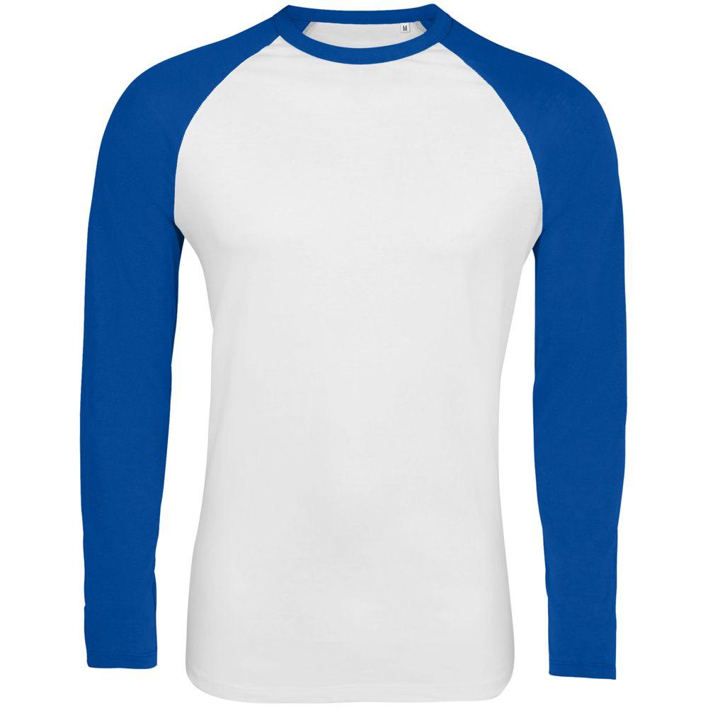 Футболка мужская с длинным рукавом Funky LSL, белая с ярко-синим