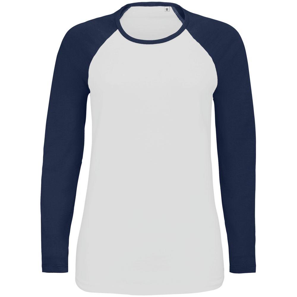 Футболка женская с длинным рукавом Milky LSL, белая с темно-синим