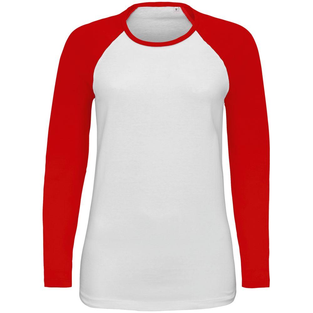 Футболка женская с длинным рукавом Milky LSL, белая с красным