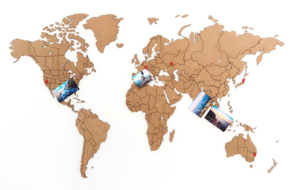 Деревянная карта мира World Map True Puzzle Small, коричневая