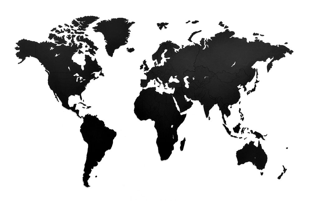 Деревянная карта мира World Map Wall Decoration Small, черная