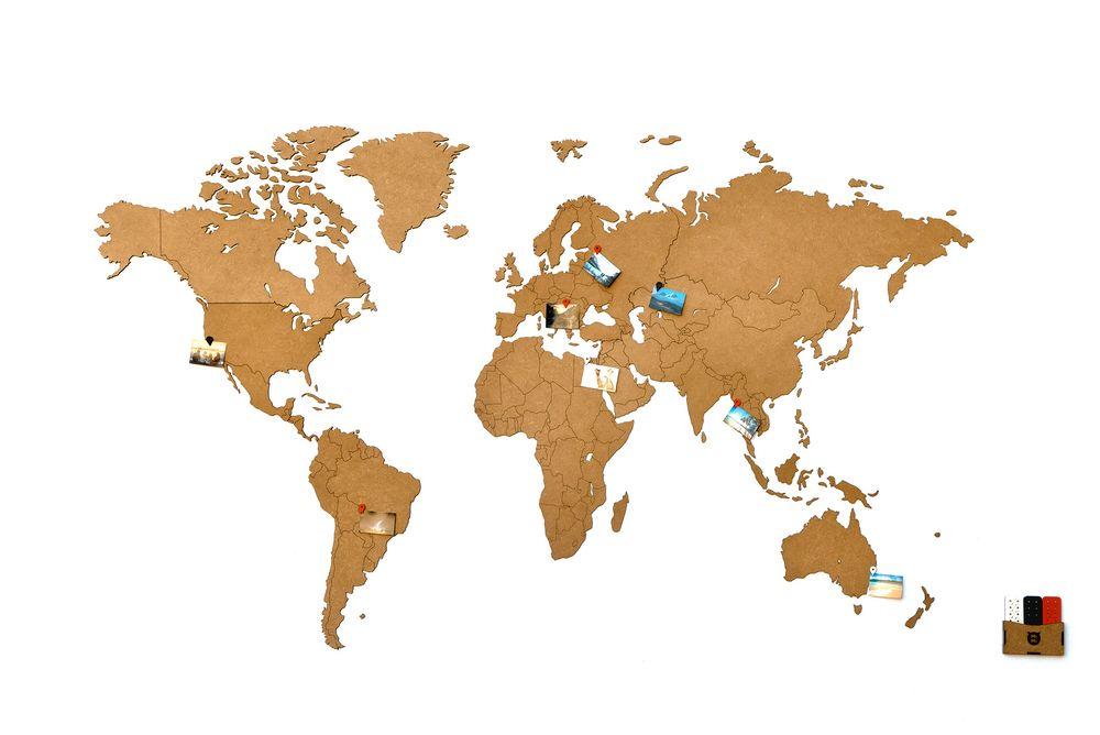 Деревянная карта мира World Map Wall Decoration Large, коричневая