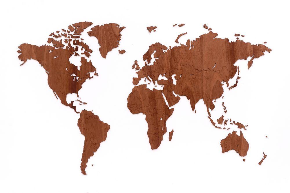 Деревянная карта мира World Map Wall Decoration Exclusive, красное дерево