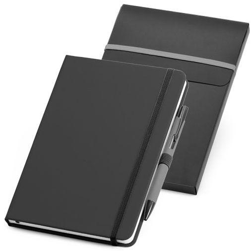 Набор: блокнот Advance с ручкой, черный с серым