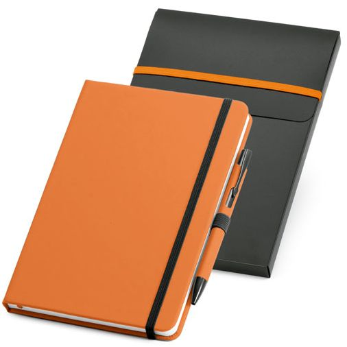 Набор: блокнот Advance с ручкой, оранжевый с черным