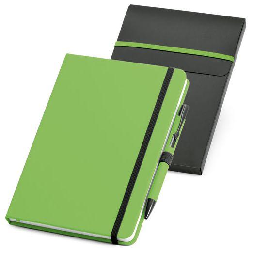 Набор: блокнот Advance с ручкой, зеленый с черным