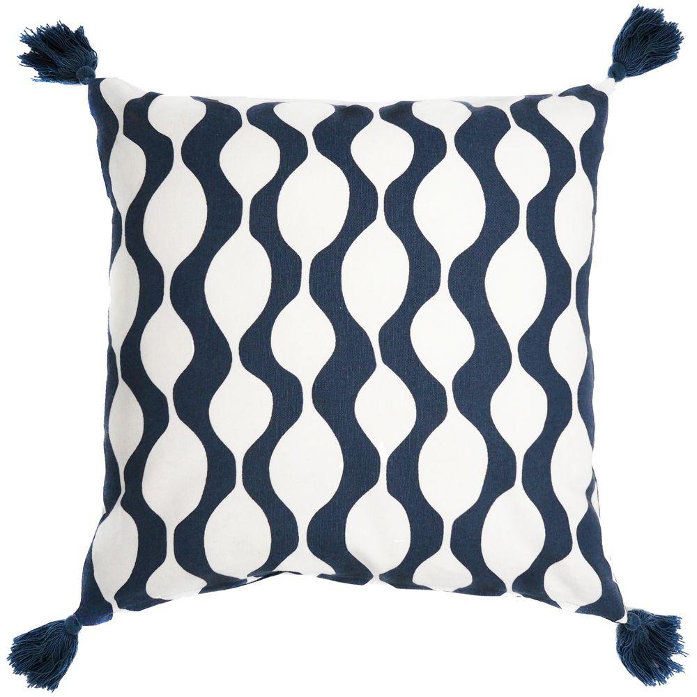 Чехол на подушку Traffic с кистями, серо-синий