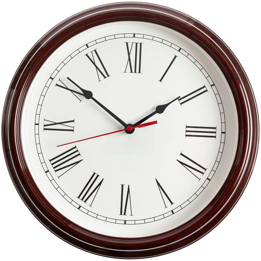Часы настенные Flat Circle, коричневые