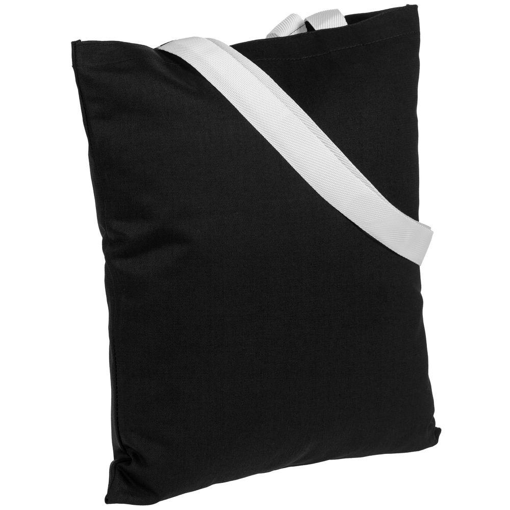 Холщовая сумка BrighTone, черная с белыми ручками