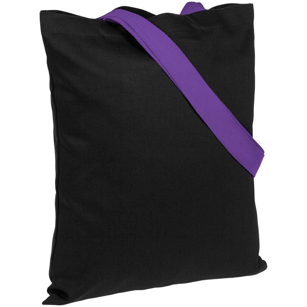 Холщовая сумка BrighTone, черная с фиолетовыми ручками