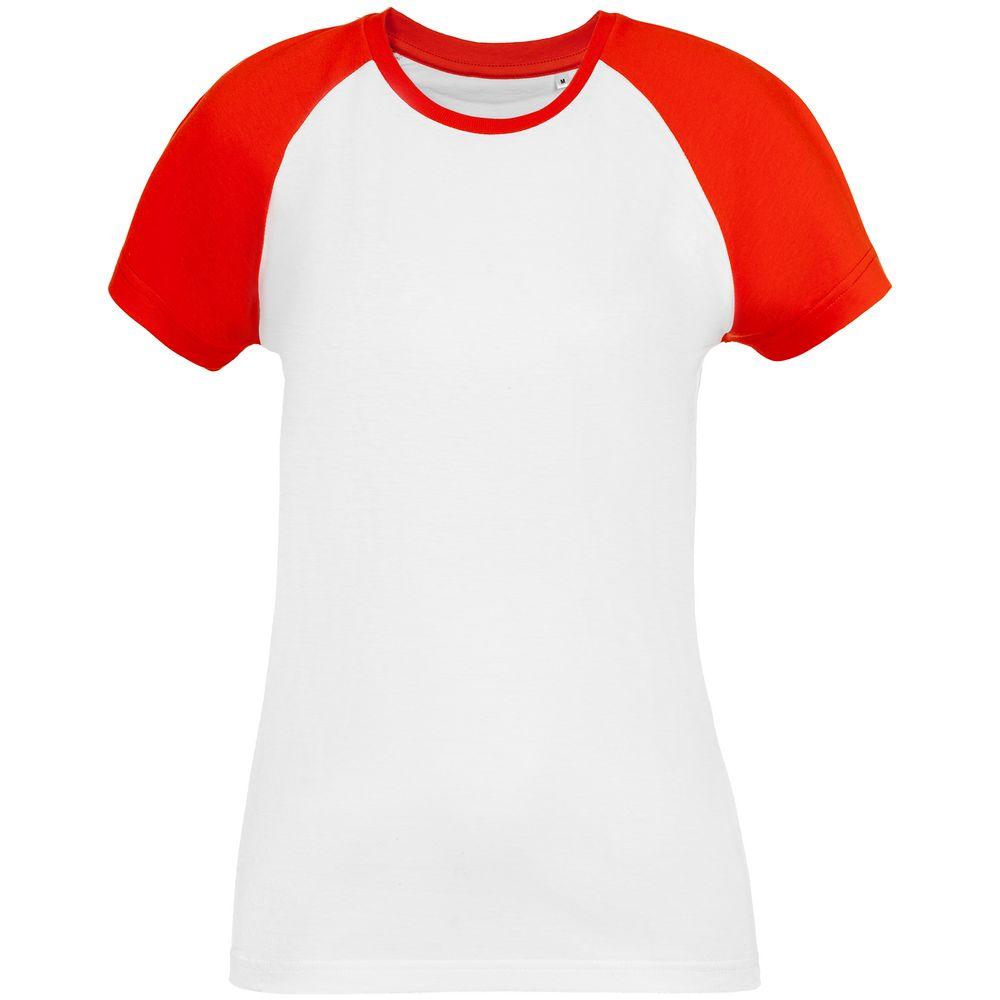 Футболка женская T-bolka Bicolor Lady, белая с красным