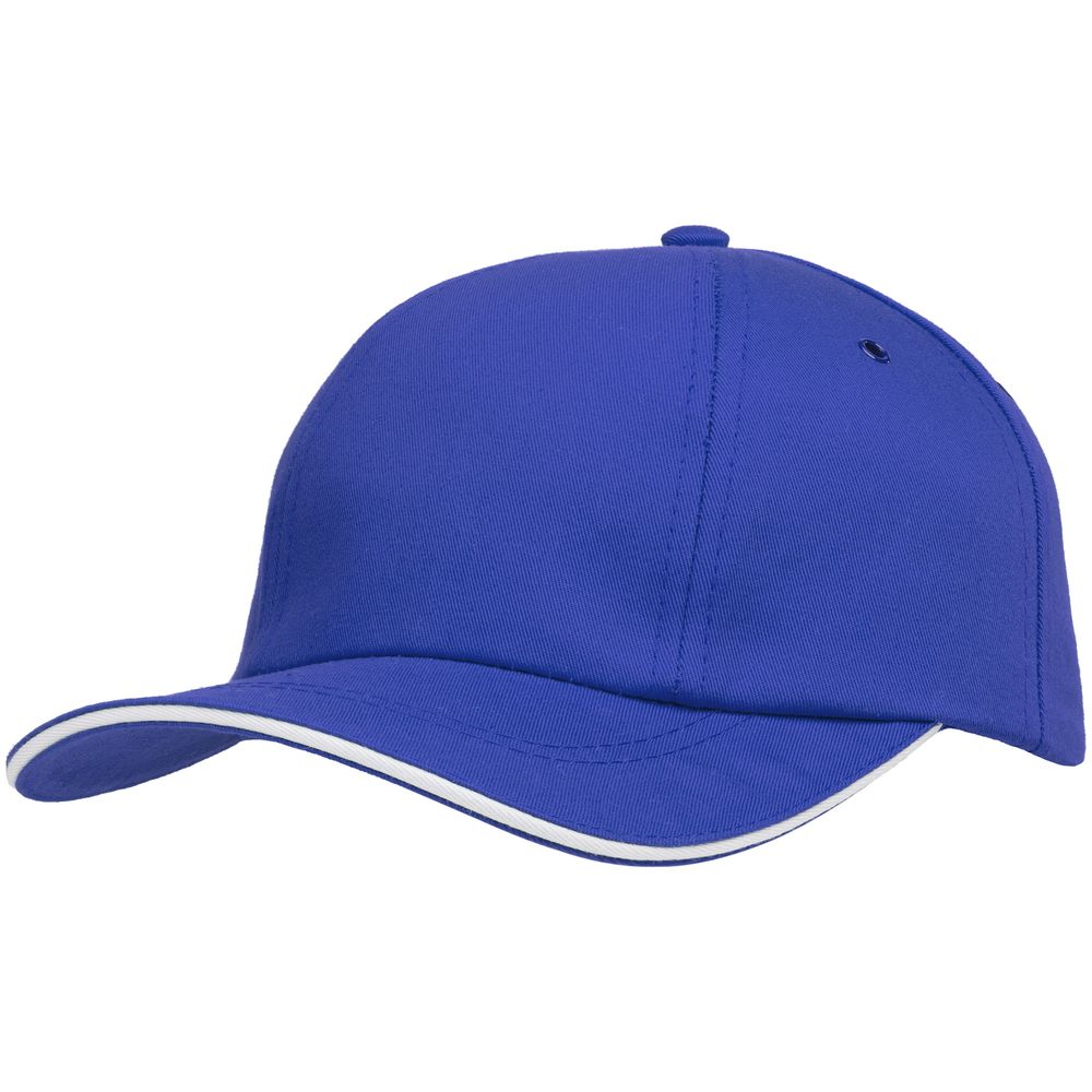 Бейсболка Bizbolka Canopy, ярко-синяя с белым кантом