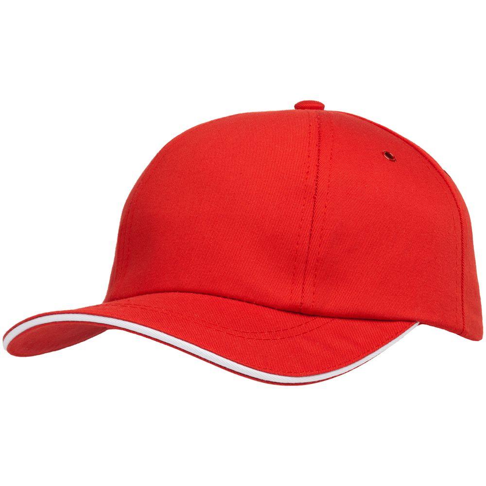 Бейсболка Bizbolka Canopy, красная с белым кантом