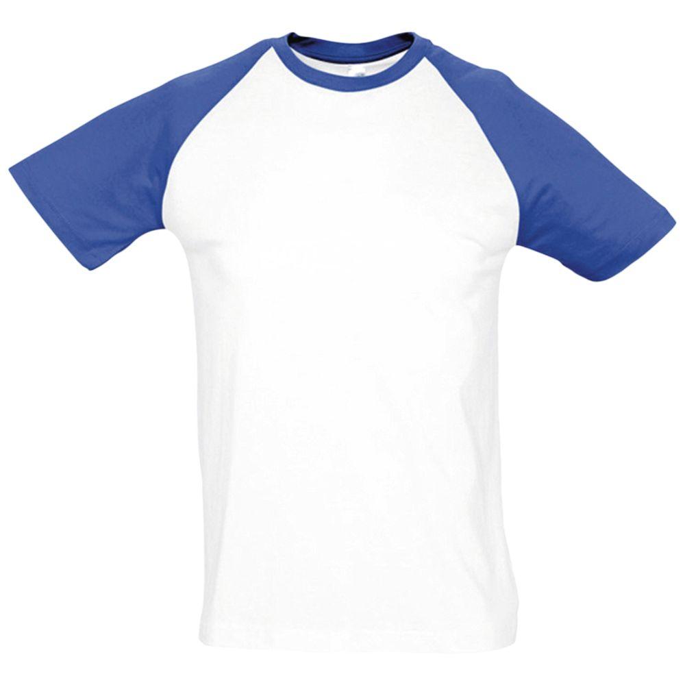 Футболка мужская двухцветная FUNKY 150, белая с ярко-синим