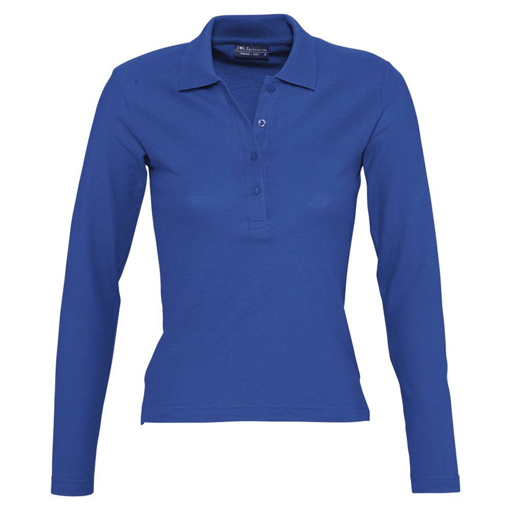 Рубашка поло женская с длинным рукавом PODIUM 210 ярко-синяя