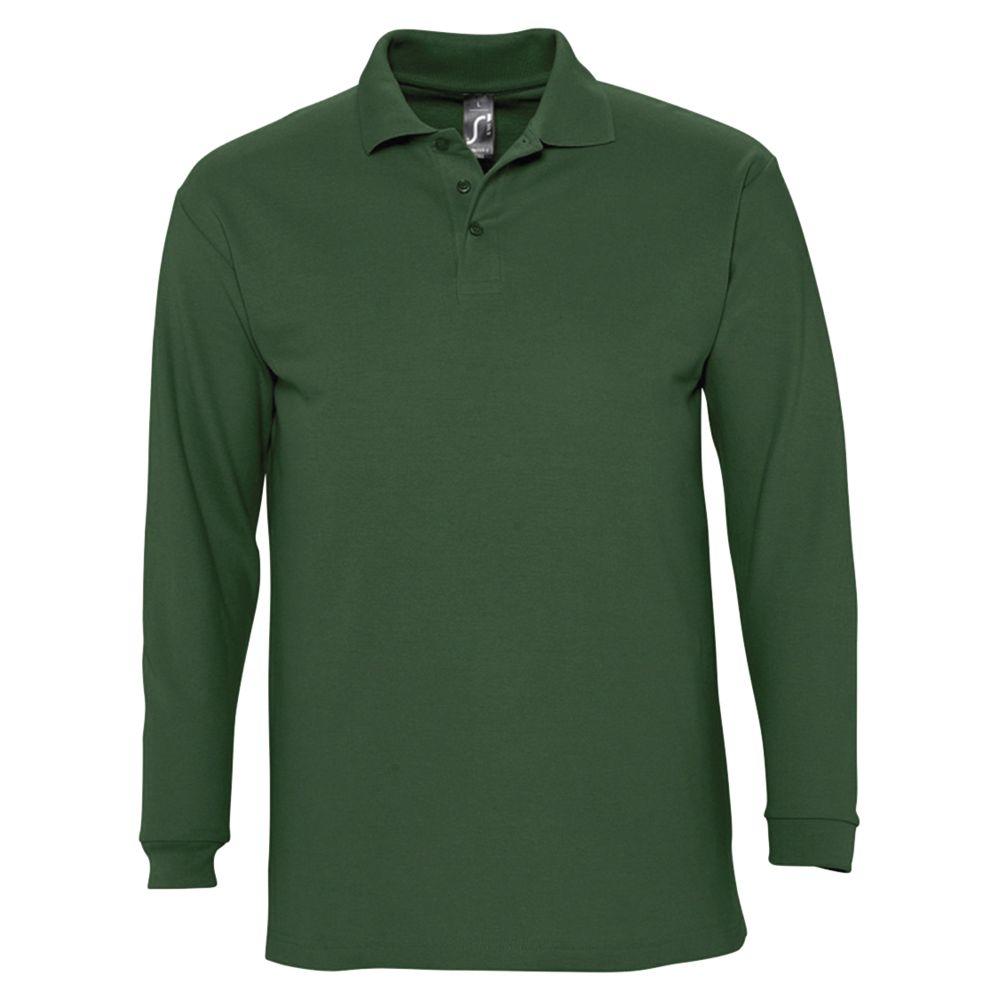 Рубашка поло мужская с длинным рукавом WINTER II 210 темно-зеленая