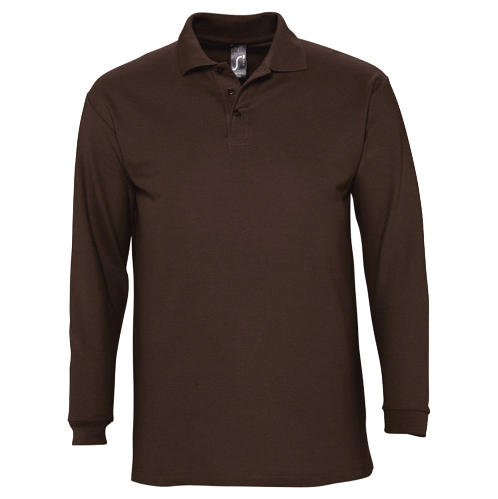 Рубашка поло мужская с длинным рукавом WINTER II 210 шоколадно-коричневая