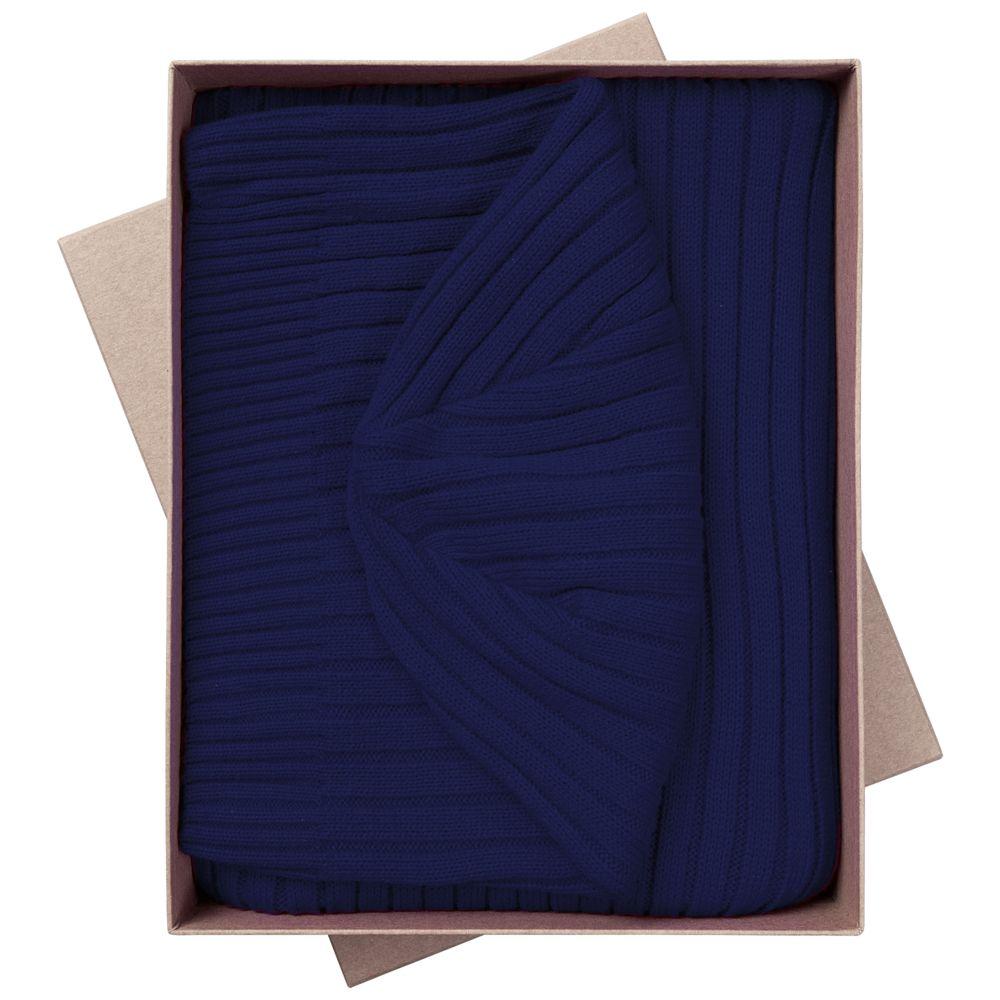 Набор Stripes: шарф и шапка, темно-синий